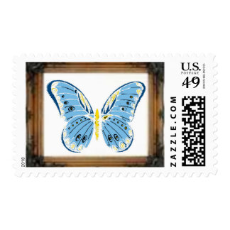 Framed Butterfly U.S. Postage Stamps