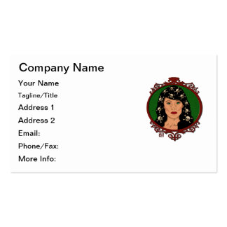 Framed Cameo Lady With Skulls in Her Hair Double-Sided Standard Business Cards (Pack Of 100)
