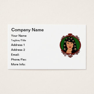 Framed Cameo Lady With Skulls in Her Hair Business Card