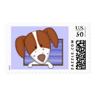 Framed Cartoon Brittany Spaniel Postage Stamps
