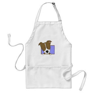 Framed Cartoon Brown Border Collie Aprons