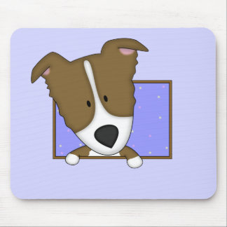 Framed Cartoon Brown Border Collie Mouse Pad