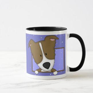 Framed Cartoon Brown Border Collie Mug