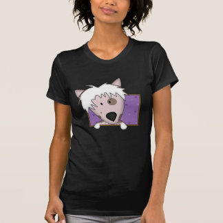 Framed Cartoon Chinese Crested Ladies Tshirt