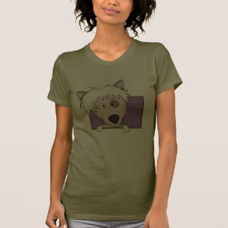 Framed Cartoon Chinese Crested Ladies T Shirts
