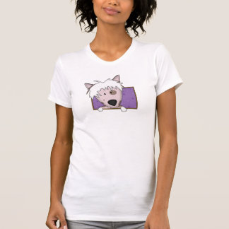 Framed Cartoon Chinese Crested Ladies T Shirt
