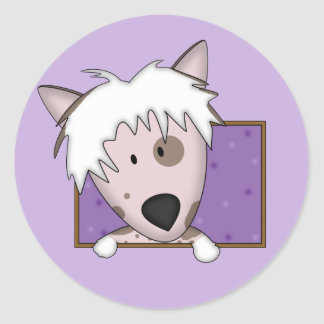 Framed Cartoon Chinese Crested Round Sticker