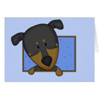 Framed Cartoon Doberman Pinscher Greeting Card