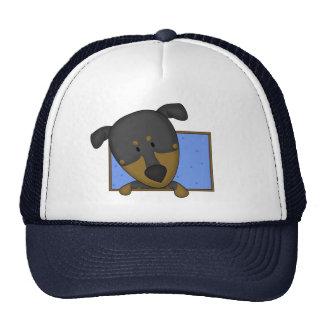 Framed Cartoon Doberman Pinscher Trucker Hat
