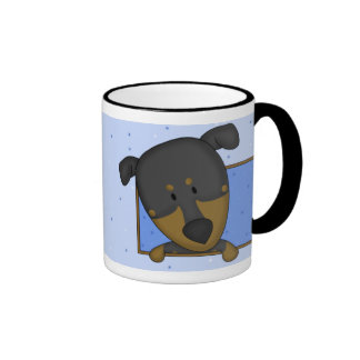 Framed Cartoon Doberman Pinscher Mug