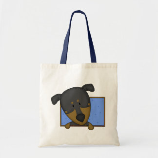 Framed Cartoon Doberman Pinscher Tote Bag