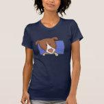 Framed Cartoon German Shorthaired Pointer Ladies T Shirt