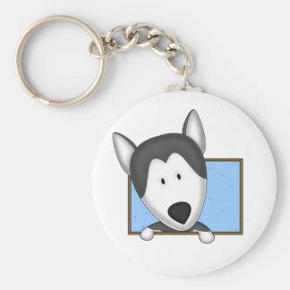 Framed Cartoon Siberian Husky Keychain
