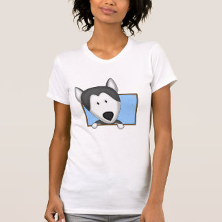 Framed Cartoon Siberian Husky Ladies Shirt