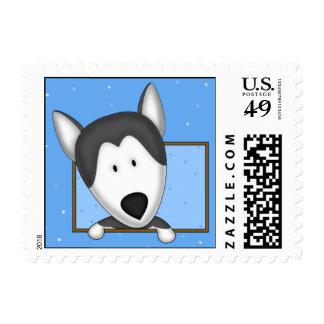 Framed Cartoon Siberian Husky Postage Stamp