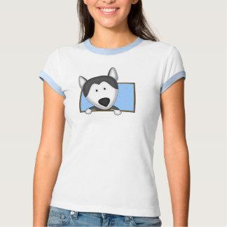 Framed Cartoon Siberian Husky T Shirt