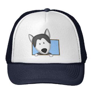Framed Cartoon Siberian Husky Trucker Hat