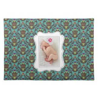 Framed custom photo on teal damask background cloth placemat