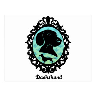 Framed Dachshund Illustration Postcard