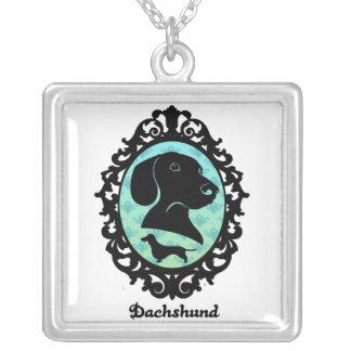 Framed Dachshund Illustration Square Pendant Necklace