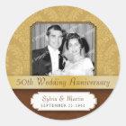 Framed Damask Golden 50th Anniversary Classic Round Sticker