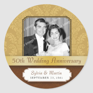 Framed Damask Golden 50th Anniversary Classic Round Sticker