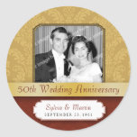 Framed Damask Golden (50th) Anniversary sticker