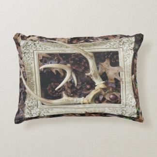 Framed Deer Antlers Decorative Pillow
