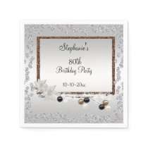 Framed Elegance 80th Birthday Party Paper Napkin