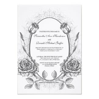 Framed Elegant Vintage Rose Wedding Invitation