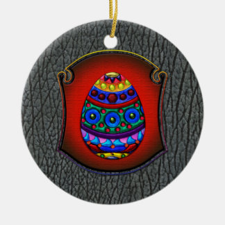 Framed Fancy Colorful Egg Double-Sided Ceramic Round Christmas Ornament