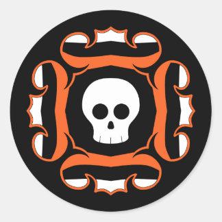 Framed fancy Halloween skull Classic Round Sticker