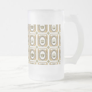 Framed French Crowns Frosted Glass Beer Mug
