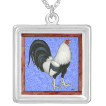 Framed Gamecock Silver Plated Necklace