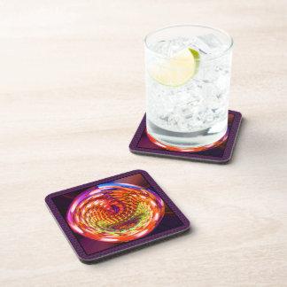 Framed glass spiral beverage coaster