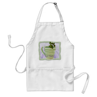 Framed Green Cup & Mint Tea Sprigs Photograph Adult Apron