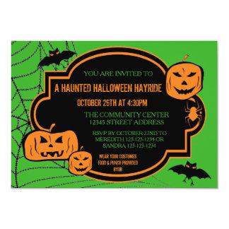 Framed Green/Orange Pumpkin - 5x7 Halloween Invite