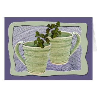 Framed Green Spiral Mugs & Mint Sprigs Photograph Card
