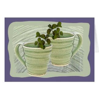 Framed Green Spiral Mugs &Mint Sprigs Photograph Card