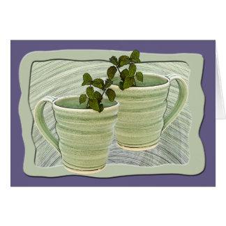 Framed Green Spiral Mugs & Mint SprigsPhotograph Card