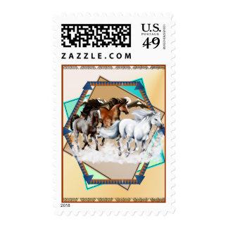 Framed Horses In Snow bg Postage