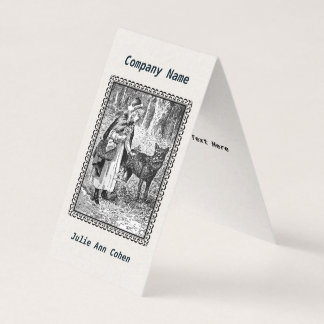 Framed Illustration Black White Riding Hood Wolf Business Card