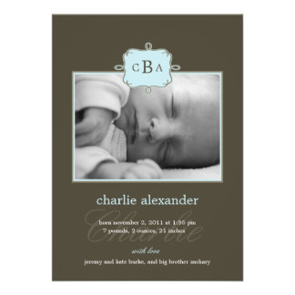 Framed Initials Birth Announcement - Blue/Gray Custom Invitations