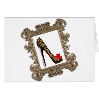 Framed Leopard Stiletto Pump Greeting Card