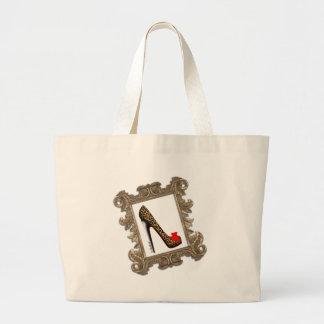 Framed Leopard Stiletto Pump Large Tote Bag