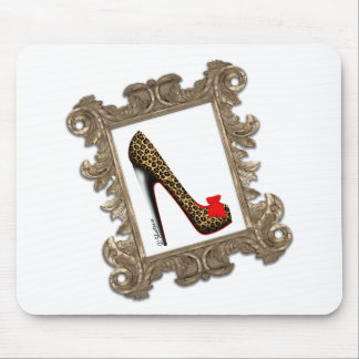 Framed Leopard Stiletto Pump Mouse Pad