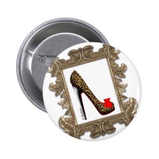 Framed Leopard Stiletto Pump Pinback Button