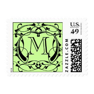 Framed Monogram in Black Stamps