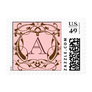 Framed Monogram in Chocolate Postage Stamps