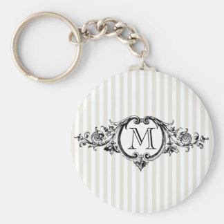 Framed Monogram On Stripes Basic Round Button Keychain